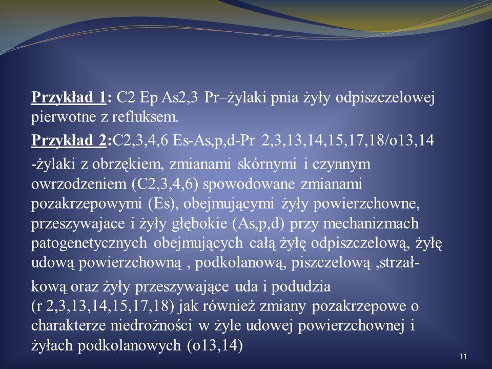 Przykład 1: C2 Ep As2,3 Pr–żylaki pnia żyły odpiszczelowej pierwotne z refluksem.