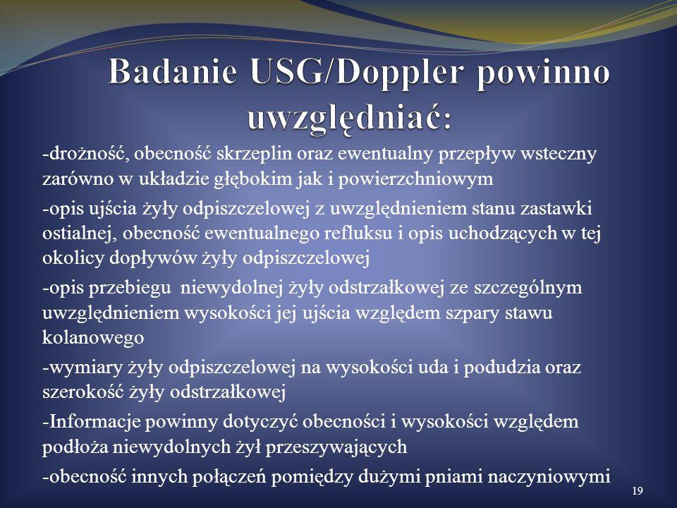 Badanie USG/Doppler powinno uwzględniać: