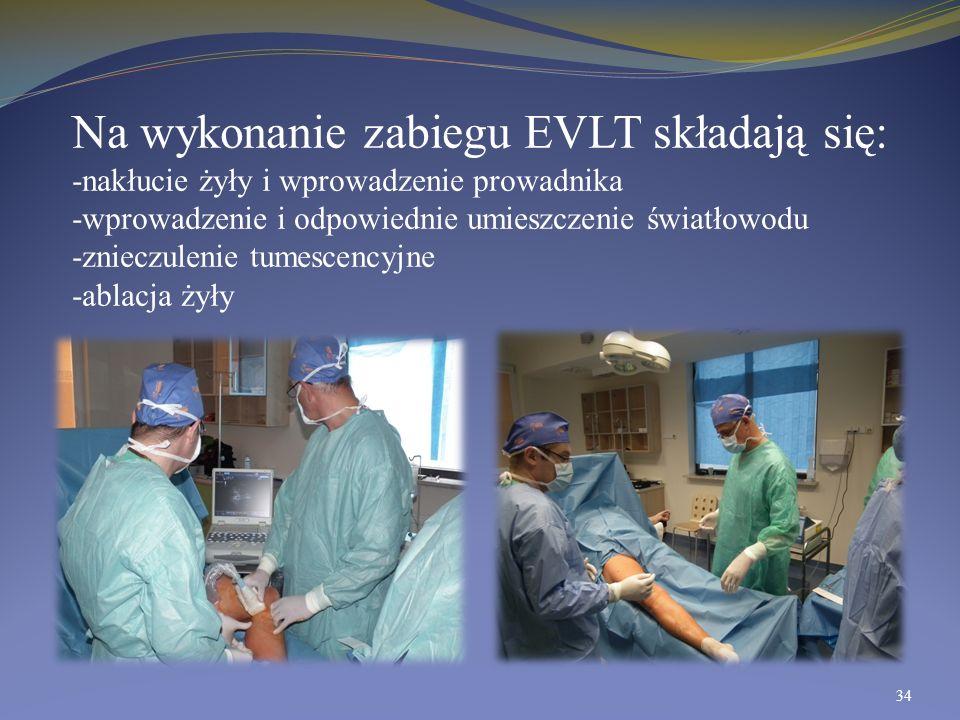 Na wykonanie zabiegu EVLT składają się: -nakłucie żyły i wprowadzenie prowadnika -wprowadzenie i odpowiednie umieszczenie światłowodu -znieczulenie tumescencyjne -ablacja żyły
