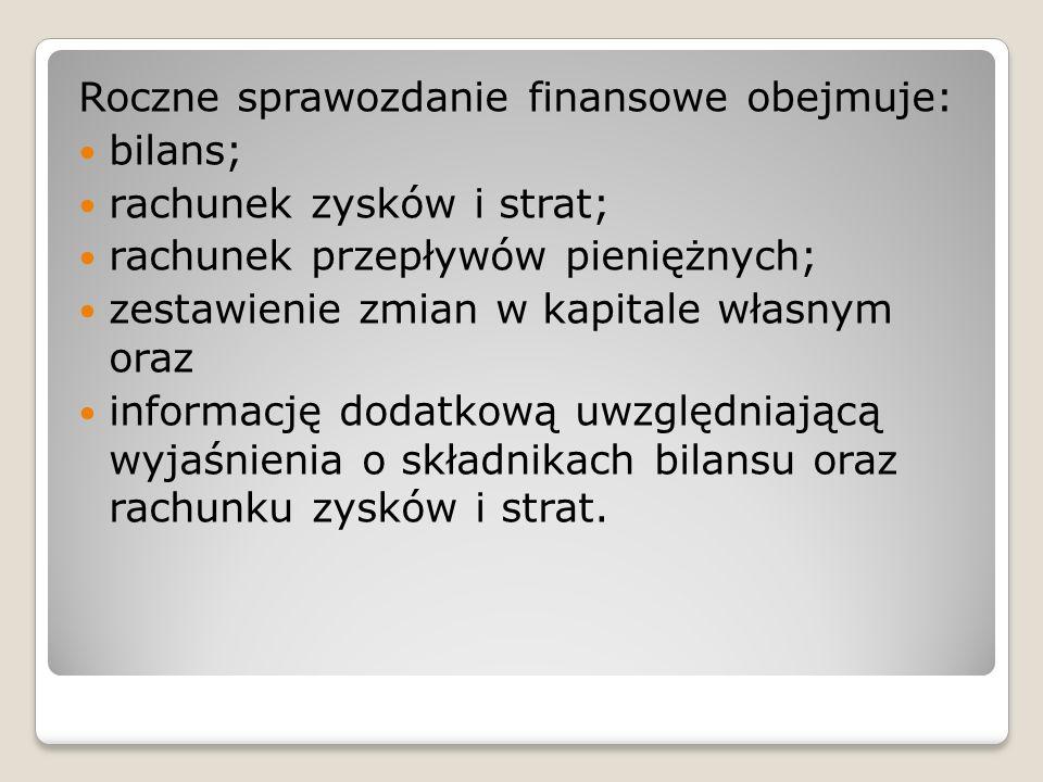 Roczne sprawozdanie finansowe obejmuje: