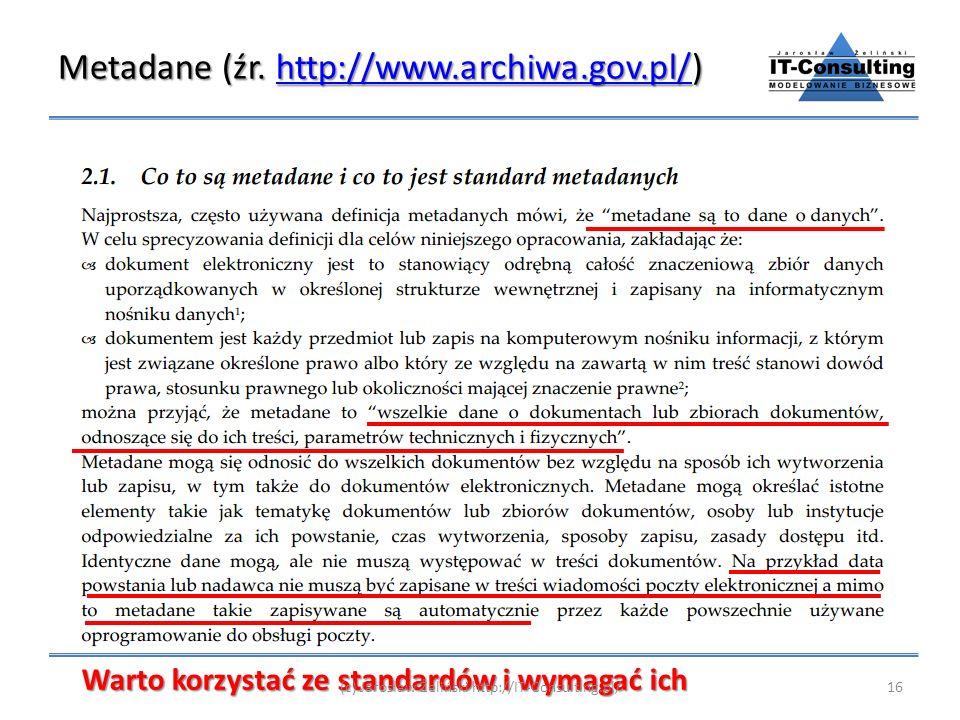 Metadane (źr. http://www.archiwa.gov.pl/)