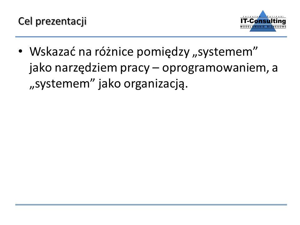 """Cel prezentacji Wskazać na różnice pomiędzy """"systemem jako narzędziem pracy – oprogramowaniem, a """"systemem jako organizacją."""