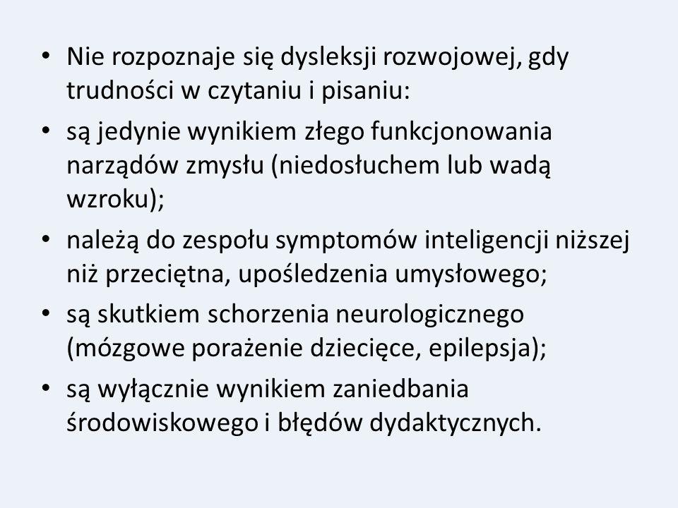 Nie rozpoznaje się dysleksji rozwojowej, gdy trudności w czytaniu i pisaniu: