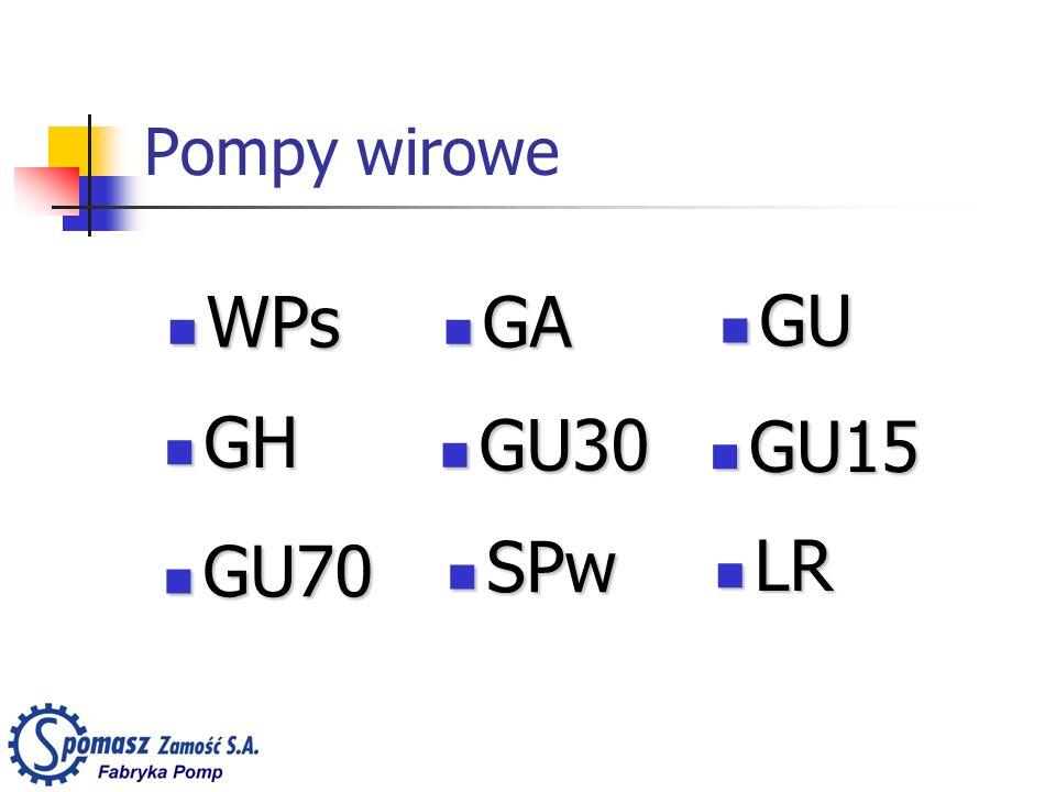 Pompy wirowe WPs GA GU GH GU30 GU15 GU70 SPw LR