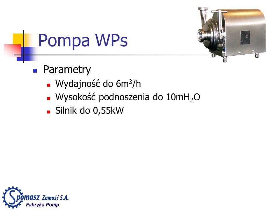 Pompa WPs Parametry Wydajność do 6m3/h Wysokość podnoszenia do 10mH2O