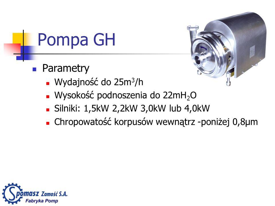Pompa GH Parametry Wydajność do 25m3/h Wysokość podnoszenia do 22mH2O
