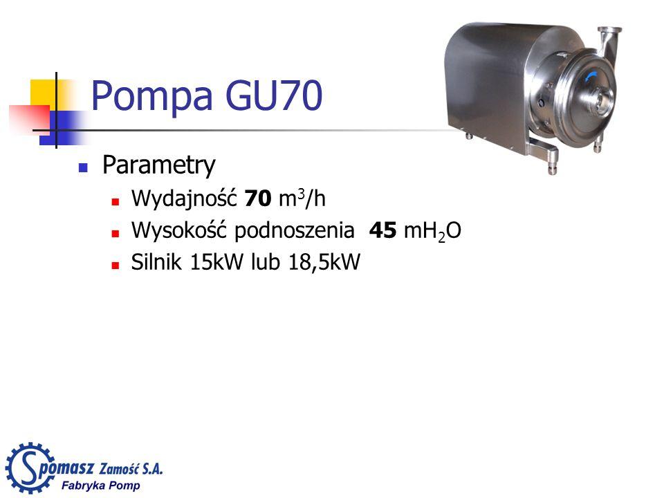 Pompa GU70 Parametry Wydajność 70 m3/h Wysokość podnoszenia 45 mH2O
