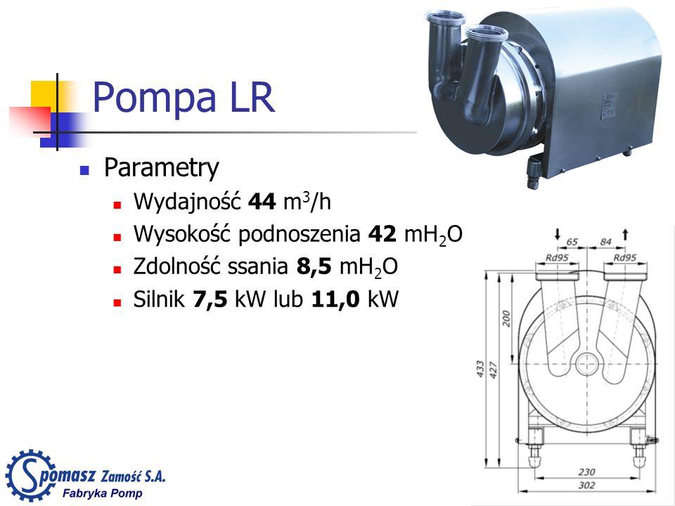 Pompa LR Parametry Wydajność 44 m3/h Wysokość podnoszenia 42 mH2O