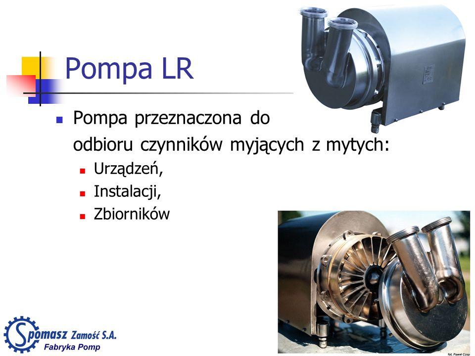 Pompa LR Pompa przeznaczona do odbioru czynników myjących z mytych: