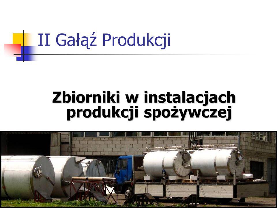 Zbiorniki w instalacjach produkcji spożywczej