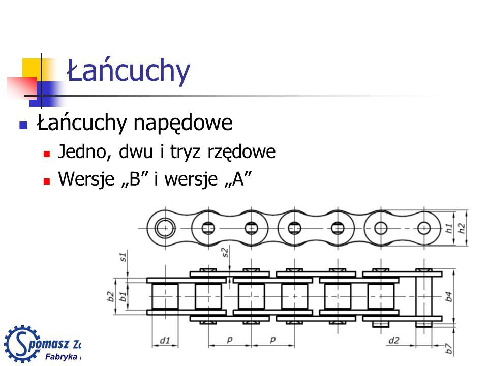 Łańcuchy Łańcuchy napędowe Jedno, dwu i tryz rzędowe