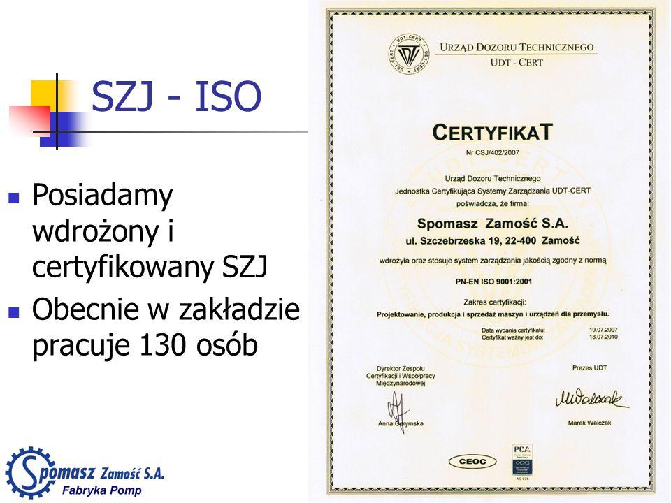 SZJ - ISO Posiadamy wdrożony i certyfikowany SZJ