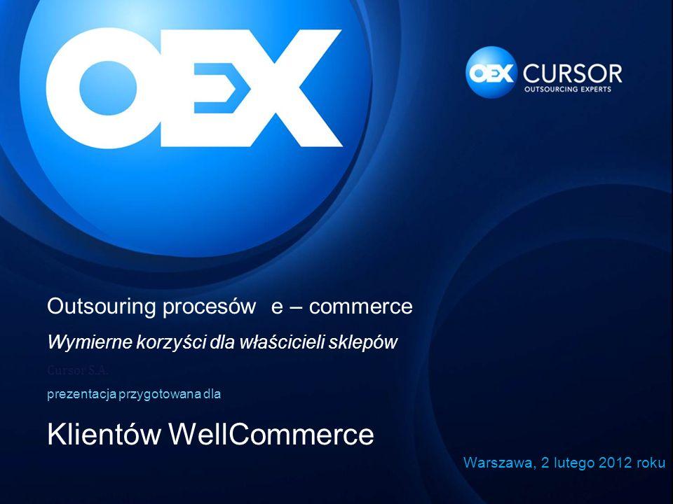 Outsouring procesów e – commerce Wymierne korzyści dla właścicieli sklepów Cursor S.A. prezentacja przygotowana dla Klientów WellCommerce