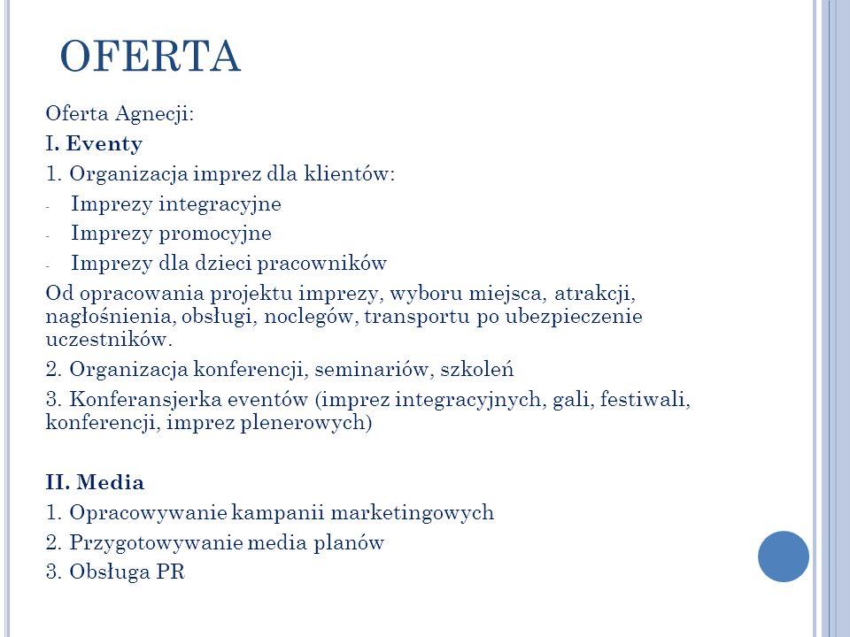 OFERTA Oferta Agnecji: I. Eventy 1. Organizacja imprez dla klientów: