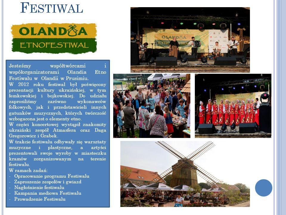 Festiwal Jesteśmy współtwórcami i współorganizatorami Olandia Etno Festiwalu w Olandii w Prusimiu.