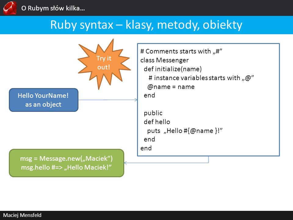 Ruby syntax – klasy, metody, obiekty