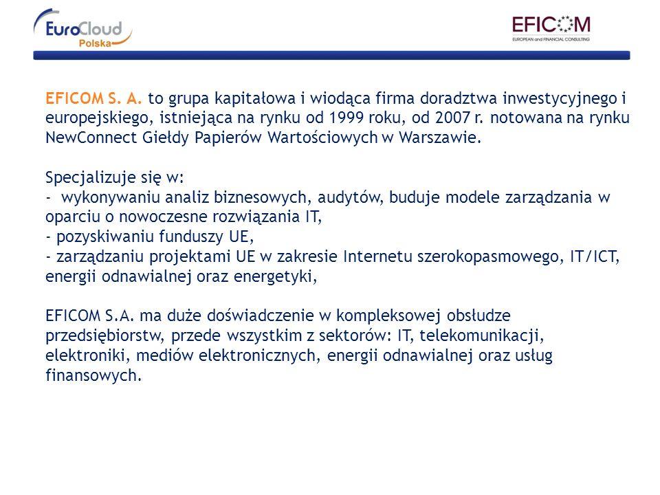 EFICOM S. A. to grupa kapitałowa i wiodąca firma doradztwa inwestycyjnego i europejskiego, istniejąca na rynku od 1999 roku, od 2007 r. notowana na rynku NewConnect Giełdy Papierów Wartościowych w Warszawie.