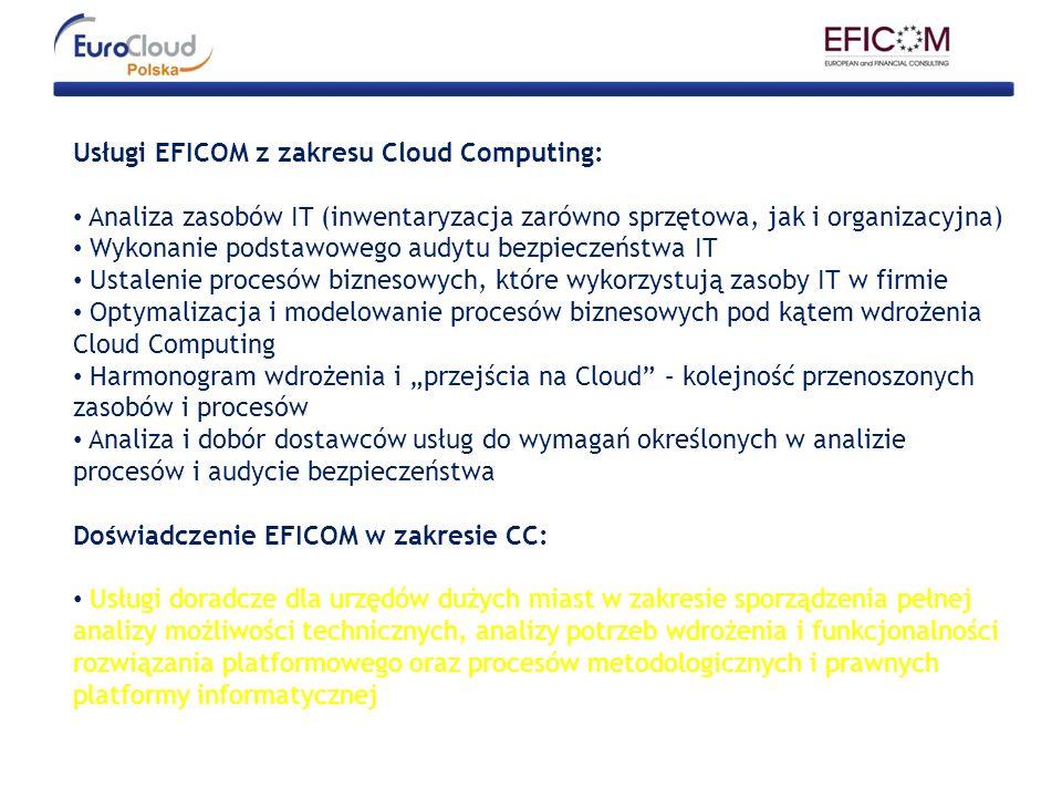 Usługi EFICOM z zakresu Cloud Computing:
