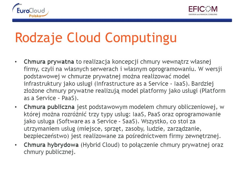Rodzaje Cloud Computingu