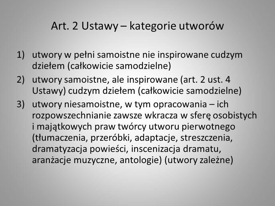 Art. 2 Ustawy – kategorie utworów