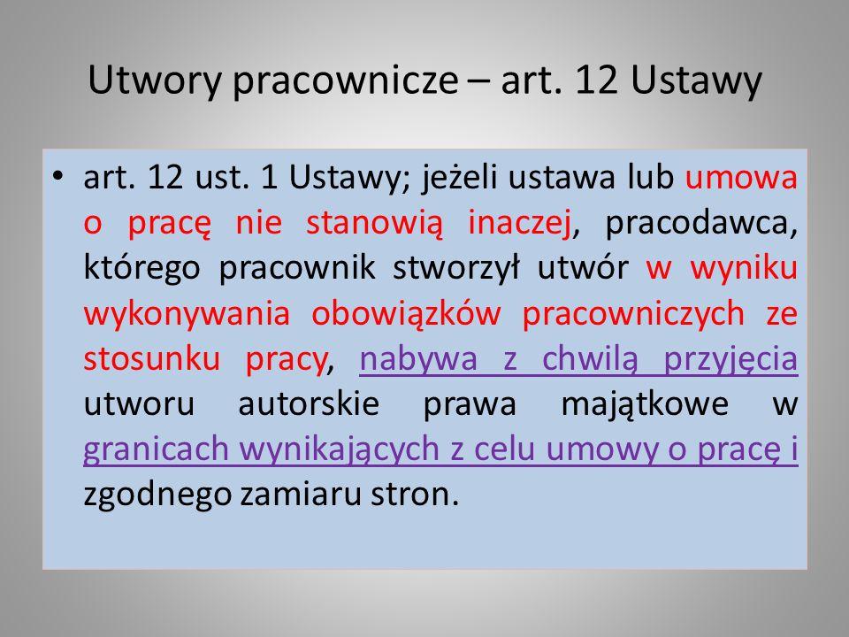 Utwory pracownicze – art. 12 Ustawy