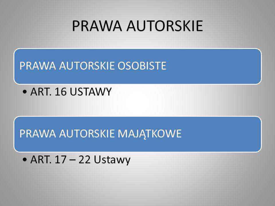 PRAWA AUTORSKIE PRAWA AUTORSKIE OSOBISTE ART. 16 USTAWY