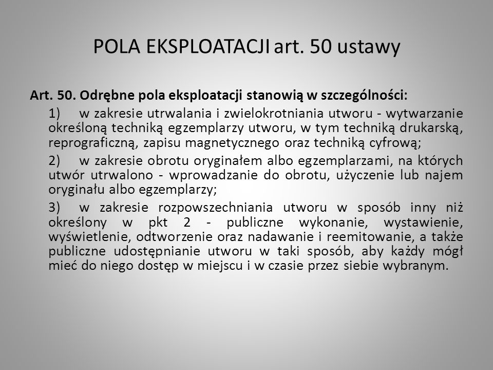 POLA EKSPLOATACJI art. 50 ustawy