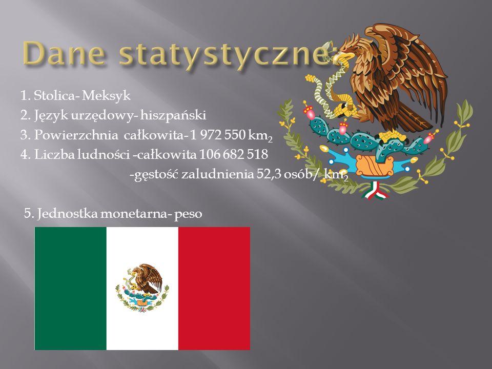 Dane statystyczne: 1. Stolica- Meksyk 2. Język urzędowy- hiszpański