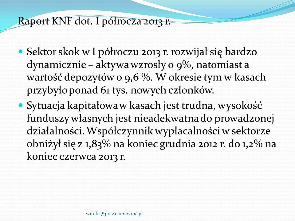Raport KNF dot. I półrocza 2013 r.
