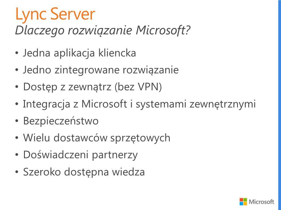 Lync Server Dlaczego rozwiązanie Microsoft Jedna aplikacja kliencka