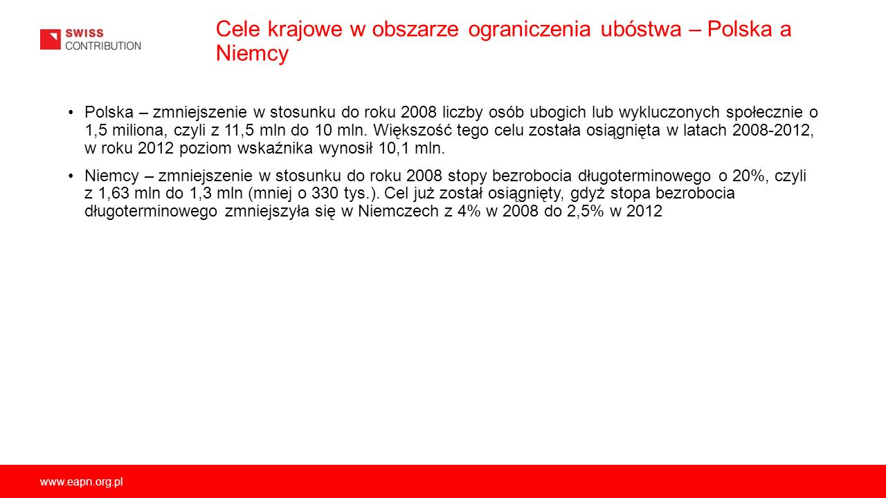 Cele krajowe w obszarze ograniczenia ubóstwa – Polska a Niemcy