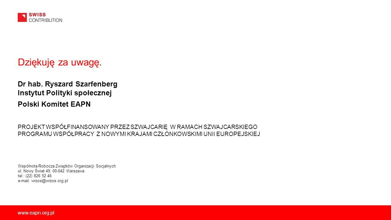 Dziękuję za uwagę. Dr hab. Ryszard Szarfenberg Instytut Polityki społecznej Polski Komitet EAPN.