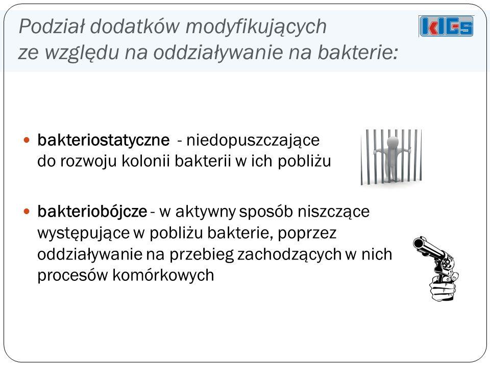 Podział dodatków modyfikujących ze względu na oddziaływanie na bakterie: