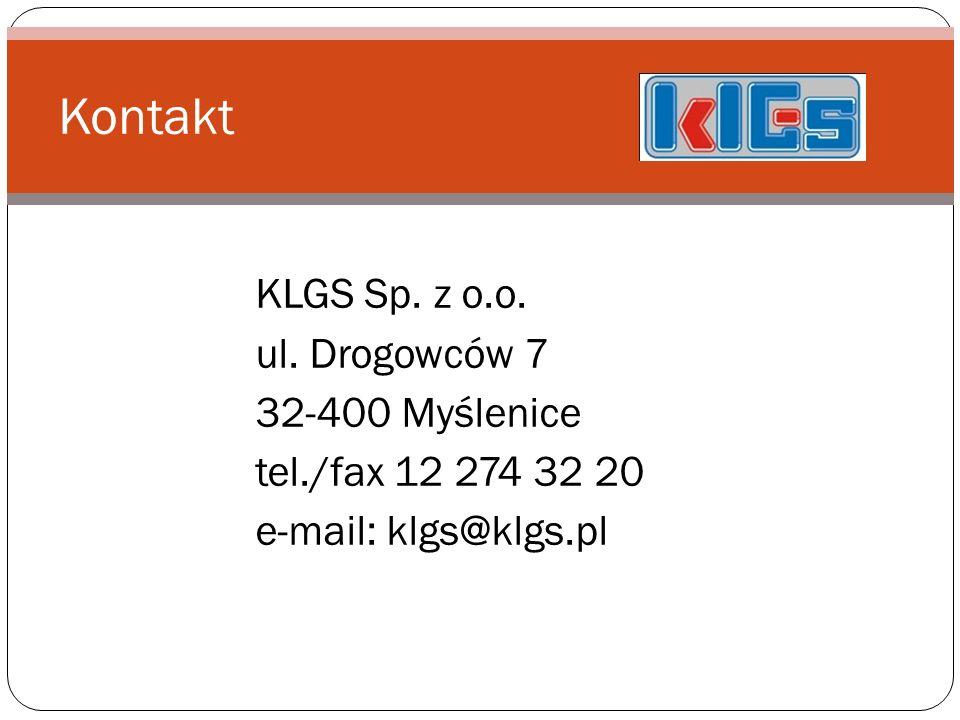 Kontakt KLGS Sp. z o.o. ul. Drogowców 7 32-400 Myślenice