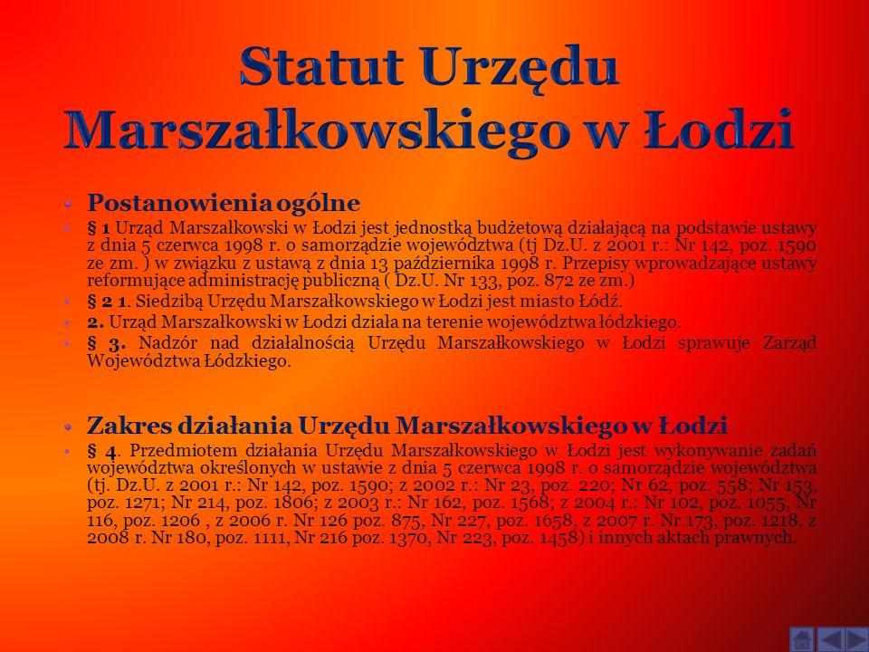 Statut Urzędu Marszałkowskiego w Łodzi