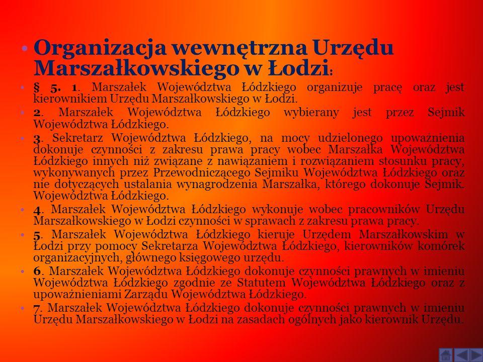 Organizacja wewnętrzna Urzędu Marszałkowskiego w Łodzi: