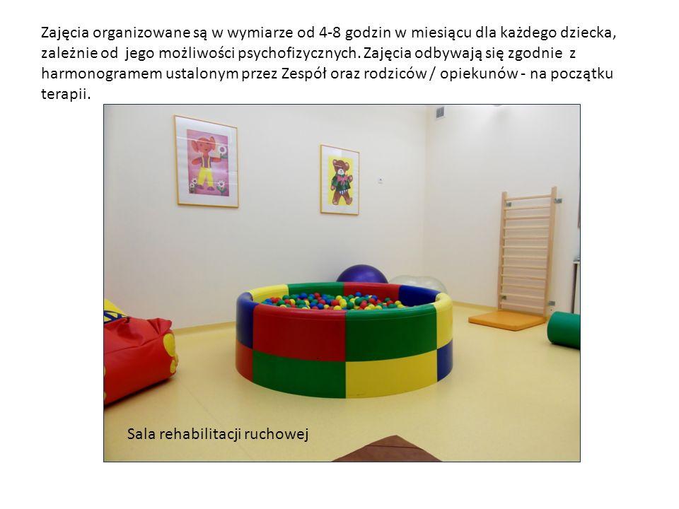 Zajęcia organizowane są w wymiarze od 4-8 godzin w miesiącu dla każdego dziecka, zależnie od jego możliwości psychofizycznych. Zajęcia odbywają się zgodnie z harmonogramem ustalonym przez Zespół oraz rodziców / opiekunów - na początku terapii.