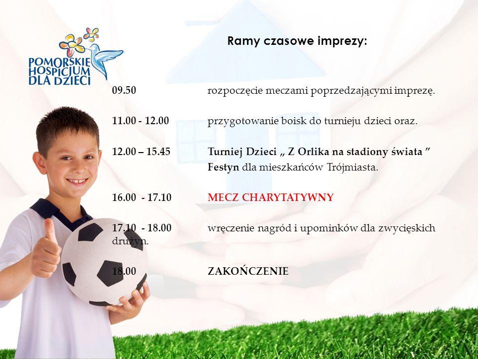 Ramy czasowe imprezy: 09.50 rozpoczęcie meczami poprzedzającymi imprezę. 11.00 - 12.00 przygotowanie boisk do turnieju dzieci oraz.