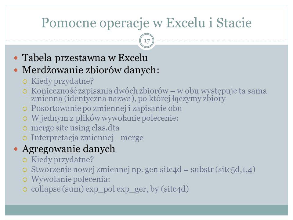 Pomocne operacje w Excelu i Stacie