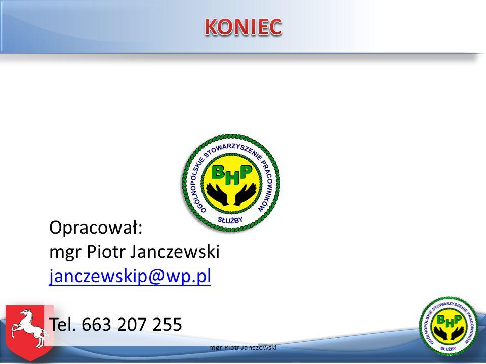 KONIEC Opracował: mgr Piotr Janczewski janczewskip@wp.pl Tel. 663 207 255 mgr Piotr Janczewski
