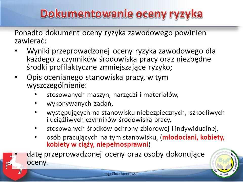 Dokumentowanie oceny ryzyka