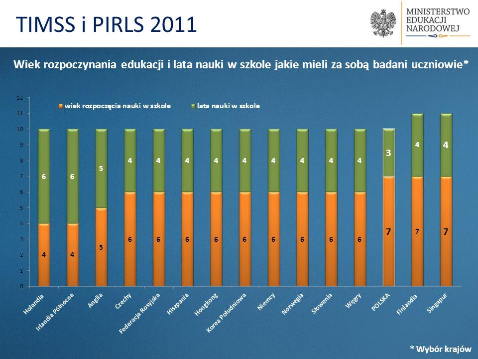 TIMSS i PIRLS 2011 Wiek rozpoczynania edukacji i lata nauki w szkole jakie mieli za sobą badani uczniowie*