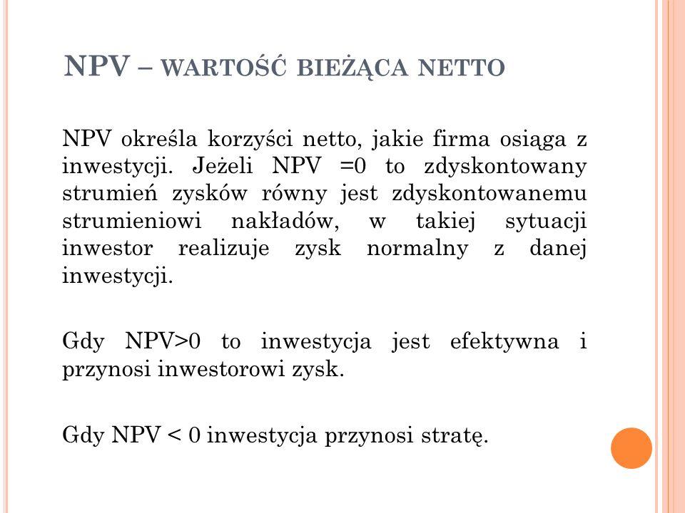 NPV – wartość bieżąca netto