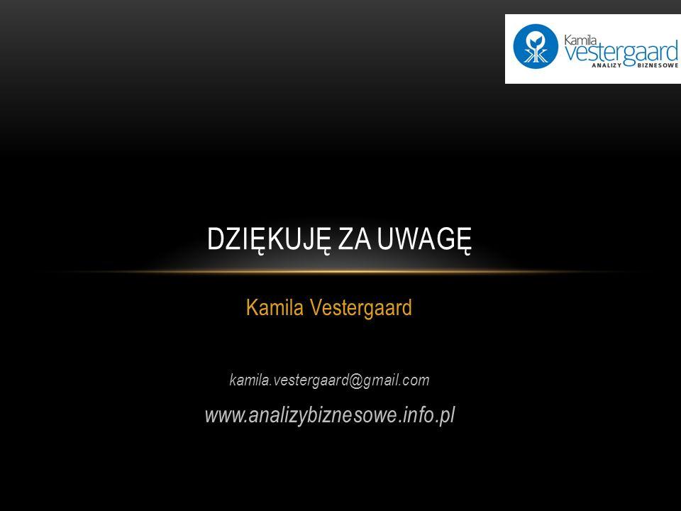 DZIĘKUJĘ ZA UWAGĘ Kamila Vestergaard www.analizybiznesowe.info.pl