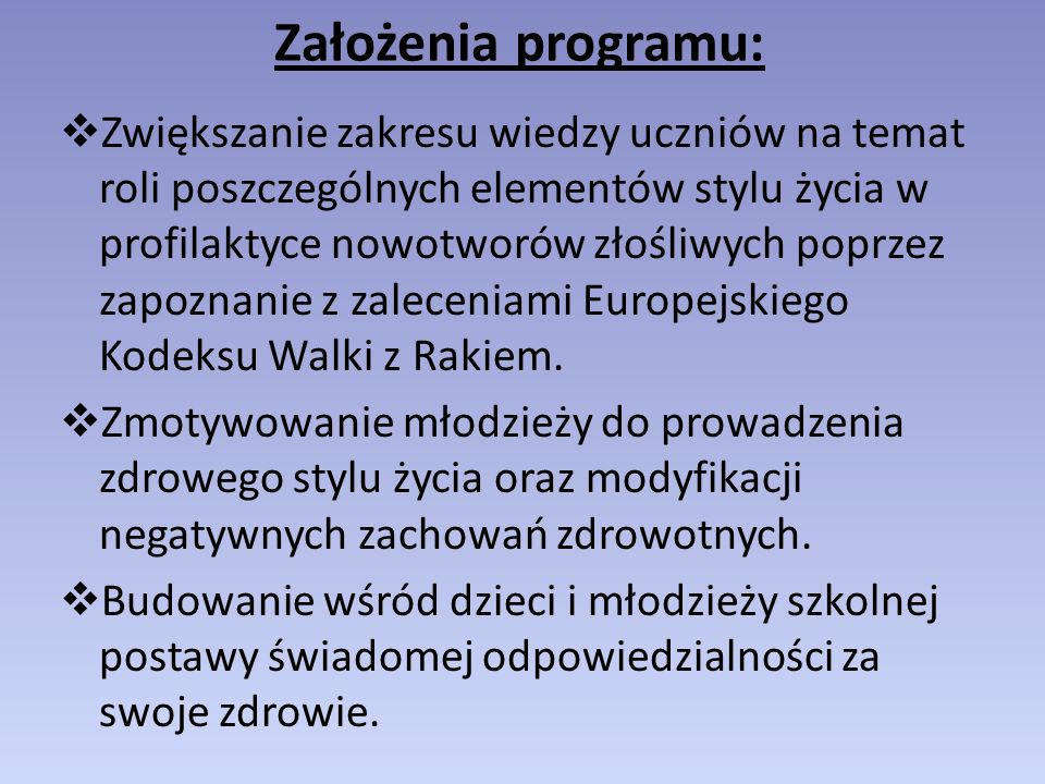 Założenia programu: