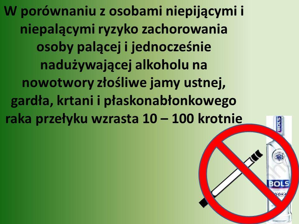 W porównaniu z osobami niepijącymi i niepalącymi ryzyko zachorowania osoby palącej i jednocześnie nadużywającej alkoholu na nowotwory złośliwe jamy ustnej, gardła, krtani i płaskonabłonkowego raka przełyku wzrasta 10 – 100 krotnie