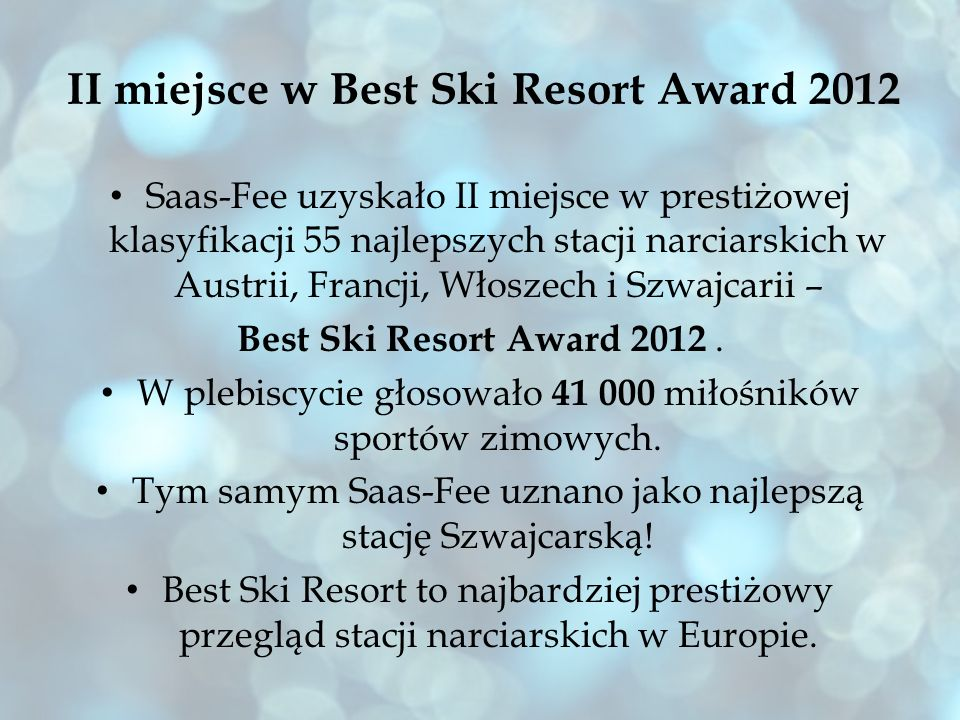 II miejsce w Best Ski Resort Award 2012