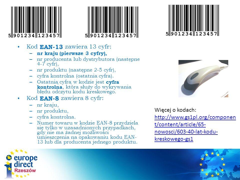 Kod EAN-13 zawiera 13 cyfr: Kod EAN-8 zawiera 8 cyfr: