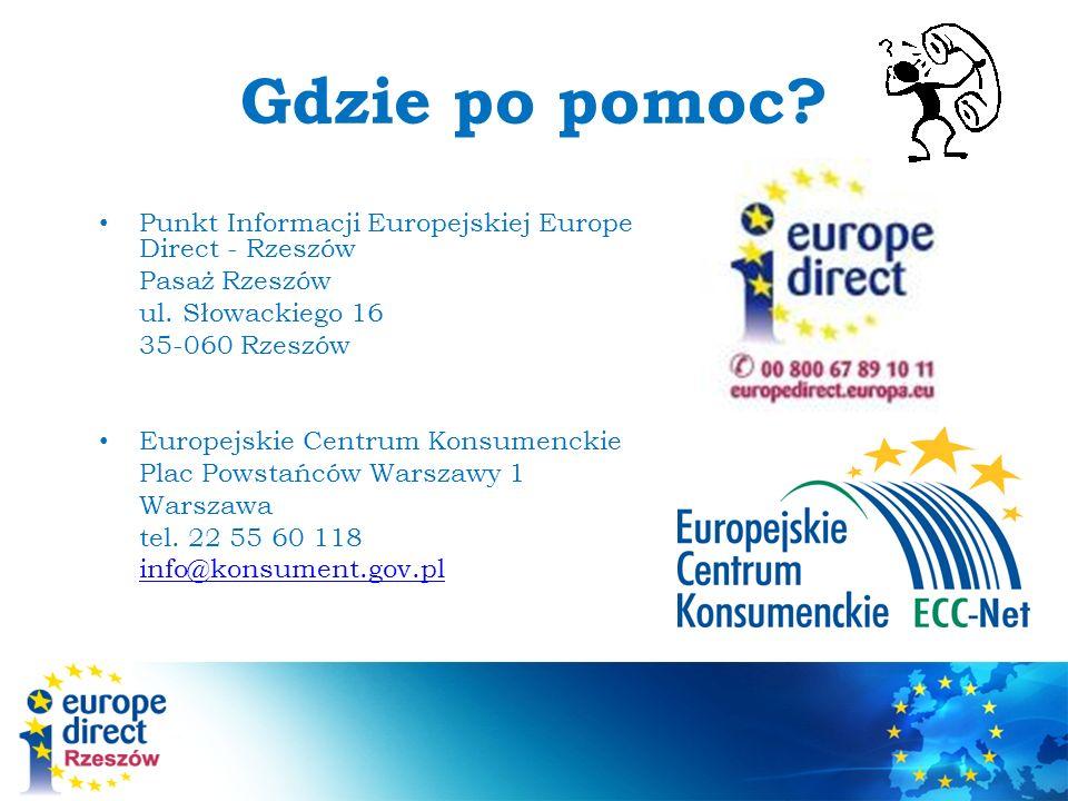 Gdzie po pomoc Punkt Informacji Europejskiej Europe Direct - Rzeszów