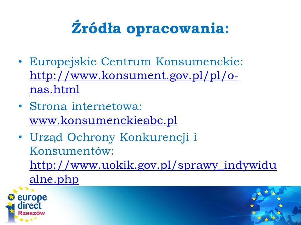 Źródła opracowania: Europejskie Centrum Konsumenckie: http://www.konsument.gov.pl/pl/o-nas.html. Strona internetowa: www.konsumenckieabc.pl.